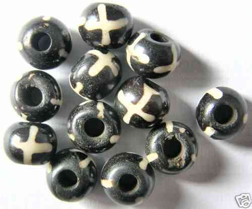12 RESIN-PERLEN / HARZ 6x8 MM