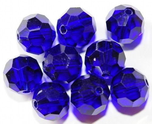 9 GLASPERLEN KUGELN FACETTIERT 10 MM DUNKEL BLAU AC4-01
