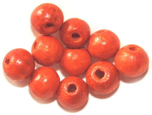 100 HOLZ-PERLEN 8 MM ORANGE