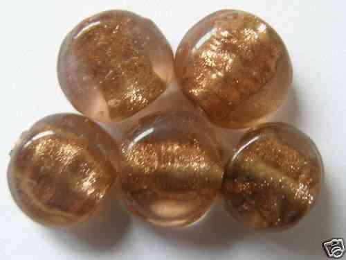 AD1-15 12 SILBERFOLIE GLASPERLEN MÜNZEN 11 MM GRAU