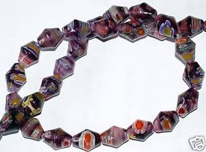 10 MILLEFIORI GLASPERLEN KUGELN 8 MM ROT AC7-04